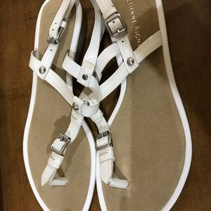 White Etienne Aigner Leather Sandals size 7. 5